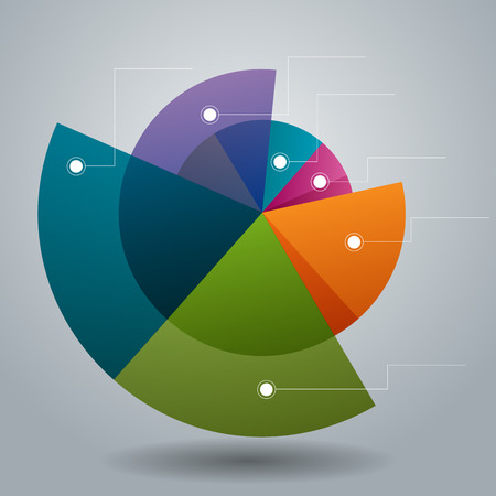 An image of a business pie circle chart icon. Illustration