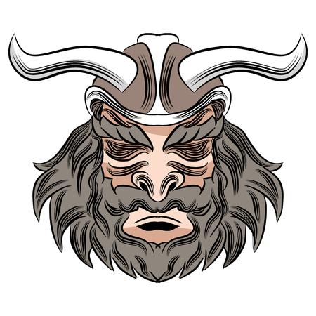 漫画ヘルメット バイキング戦士の男性の顔の画像。