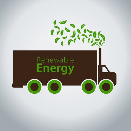An image of a diesel truck using green clean energy. Illustration