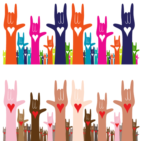hand sign: An image of a sign language hand gesture banner of i love you.