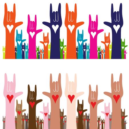 Een afbeelding van een gebarentaal handgebaar banner van Ik hou van je. Stock Illustratie