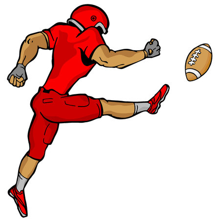 An image of a kicking football player.