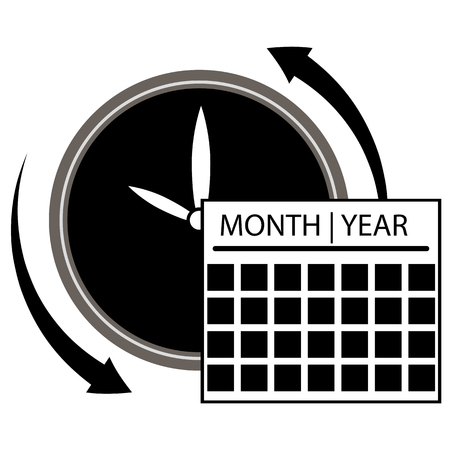 An image of a clock calendar  icon. Illustration