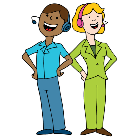 call center agent: An image of a call center agent team. Illustration