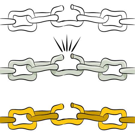 cadena rota: Una imagen de un enlace roto en una cadena.