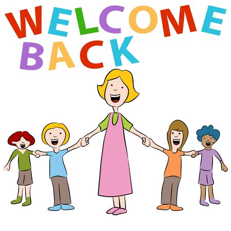 hands holding sign: An image of a teacher and her students holding hands with a welcome back sign. Illustration