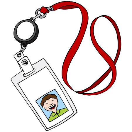 An image of a lanyard id identification badge. Vectores