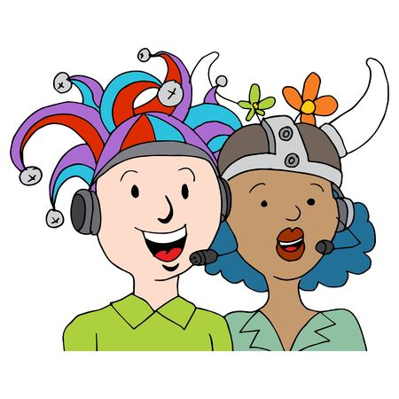 An image of call center agents wearing funny hats.