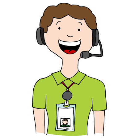An image of a call center agent man wearing id lanyard badge. Illustration
