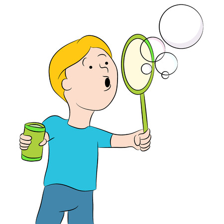 An image of a kid blowing bubbles.