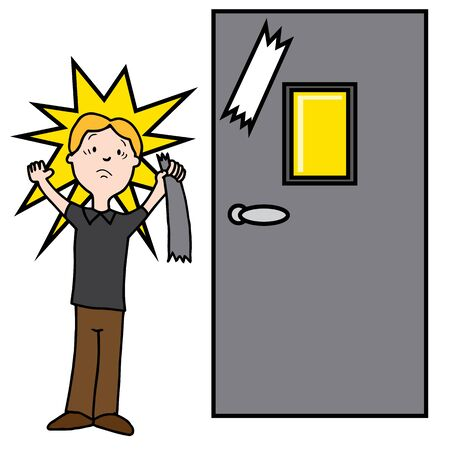 damaging: An image of a man damaging door with sticky tape.