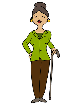 hispanic: An image of a disabled hispanic female with cane.