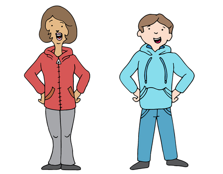 sweatshirts: An image of a man and woman wearing hoodie pullover sweatshirts.