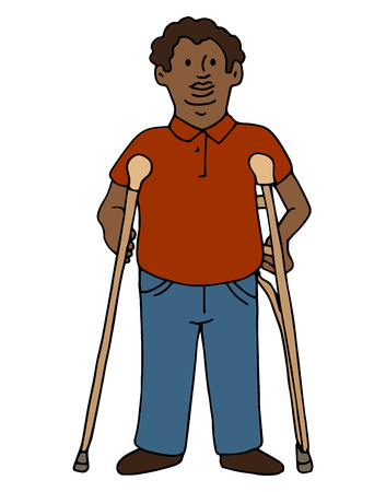 crutches: An image of a disabled african american man using crutches.