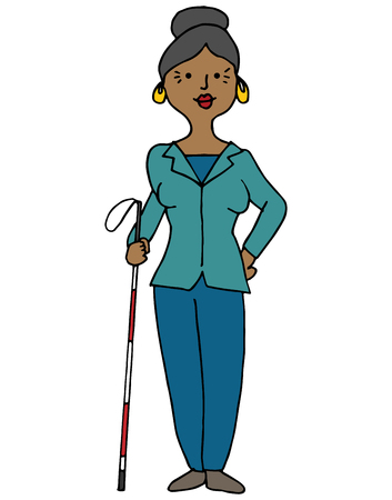 An image of a blind hispanic woman using a cane.