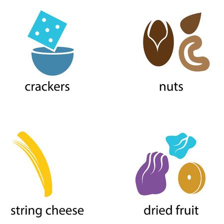 크래커, 견과류, 스트링 치즈와 말린 과일 등 유기농 스낵 식품의 그룹의 이미지. 일러스트