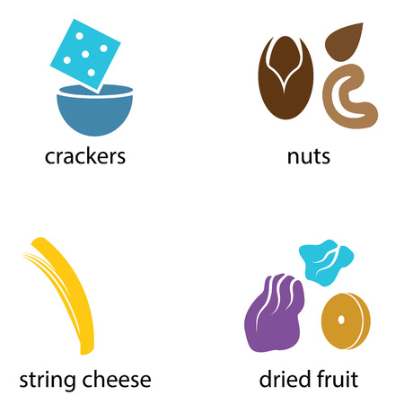 string: An image of a group of organic snack foods like crackers, nuts, string cheese and dried fruit.