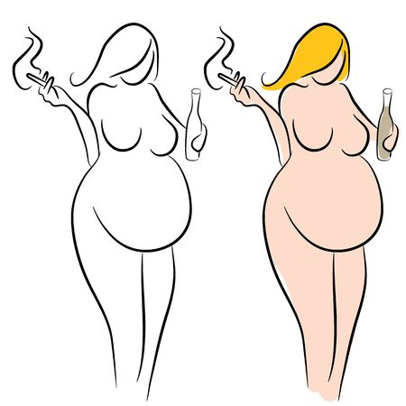 An image of a pregnant woman smoking and drinking alcoholic drink.