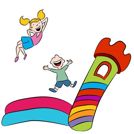 Ein Bild von Kindern auf einer Hüpfburg spielen.