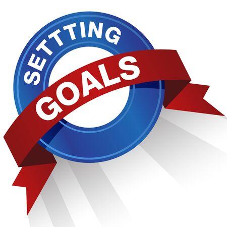 An image of a setting goals badge. Çizim