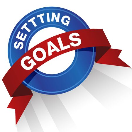 An image of a setting goals badge. Vectores
