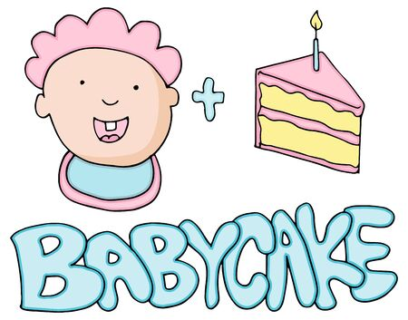 baby face: An image of a Baby Cake Valetines Message. Illustration