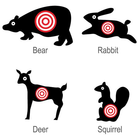 An image of a set of hunted animal targets. Illustration