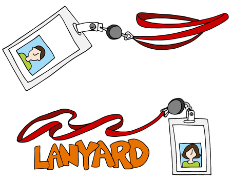 lanyard: An image of a lanyard id identification badge set.