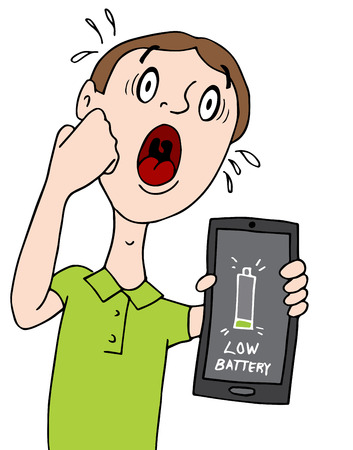 smart man: An image of a man with a low battery alert on his smart phone.