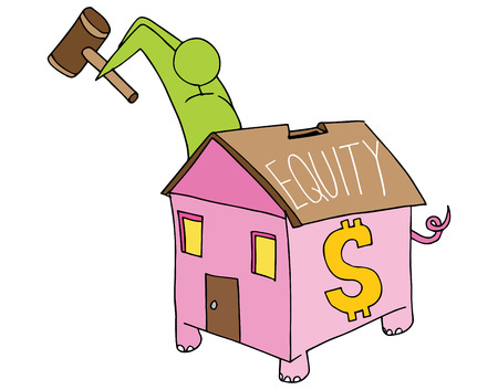 equity: An image of a man breaking open his home equity piggy bank.