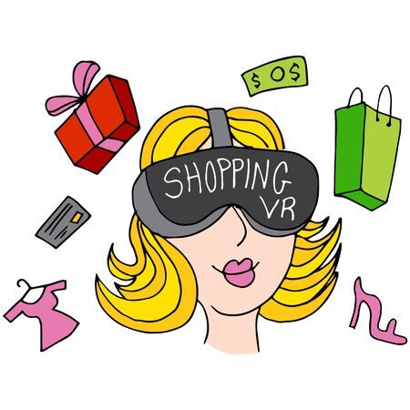 girl wearing glasses: An image of a virtual reality shopping girl.