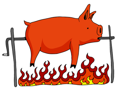 An image of a roasted pig on a spit.
