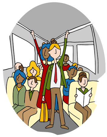 crowded: An image of people on a crowded bus. Illustration