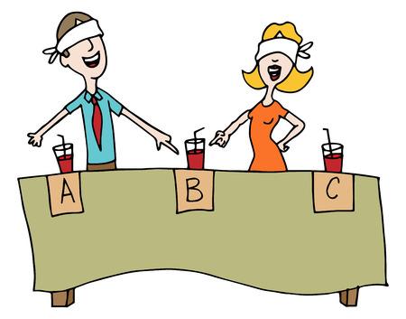 tastes: An image of people taking a blind beverage taste test. Illustration
