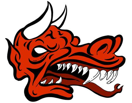 Une image d'une créature face démon dragon. Vecteurs