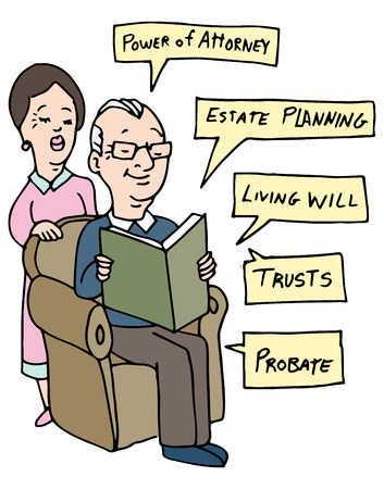 estate planning: An image of a senior couple researching Estate Planning ideas.