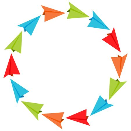 airplanes: An image of paper airplanes in a circular formation.