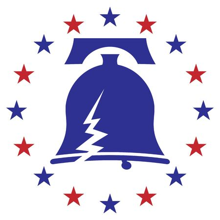 An image of a cracked libery bell icon with stars. Иллюстрация