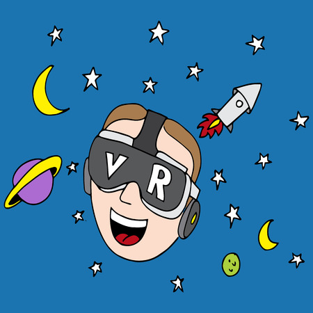 An image of a man using virtual reality glasses to explore the universe. Illustration