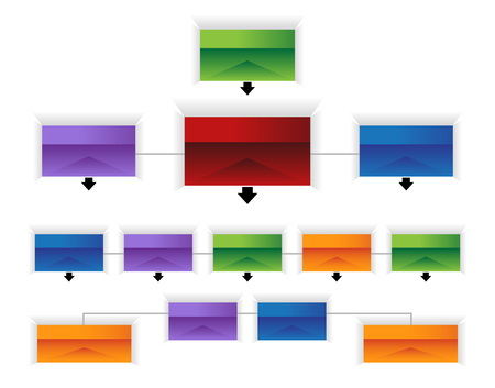 An image of a 3d corporate organizational chart infographic.