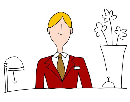 front desk: An image of a hotel front desk manager. Illustration