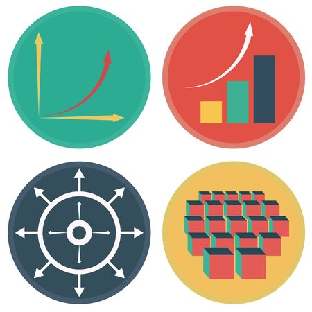 exponential: An image of the development of exponential growth icons. Illustration