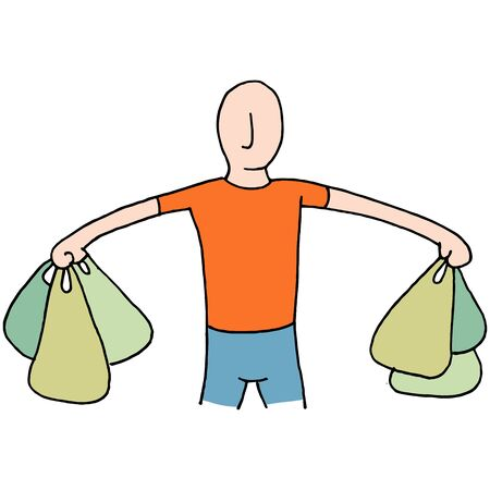An image of a Man Carrying Plastic Grocery Bags.