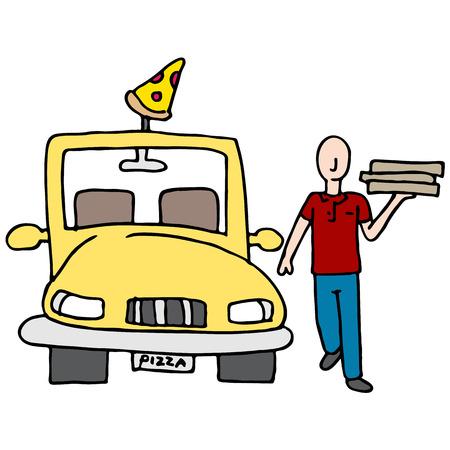 carro caricatura: Una imagen de un controlador de entrega de la pizza.