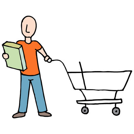 An image of a Man Reading Packaging Label Grocery Cart.