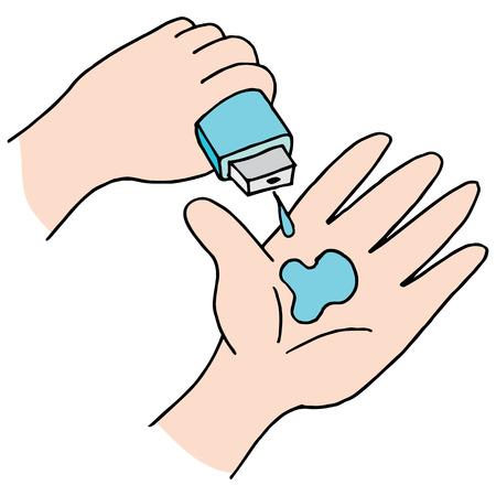 lavarse las manos: Una imagen de desinfectante de manos. Vectores