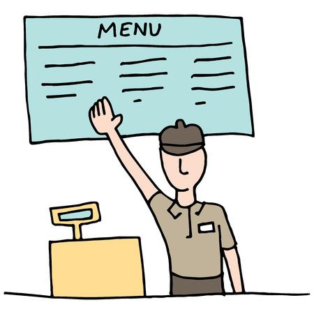 An image of a Fast Food Cashier. Ilustração
