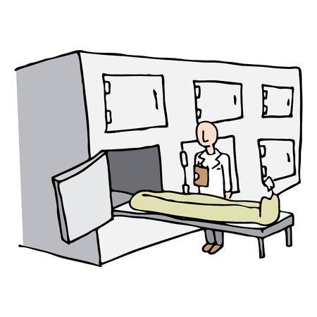 examiner: An image of a Coroner Morgue Room.