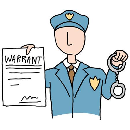 warrant: An image of a police officer holding a Arrest Warrant. Illustration