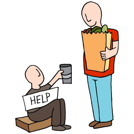 homelessness: An image of a Beggar Asking for Money From Customer.
